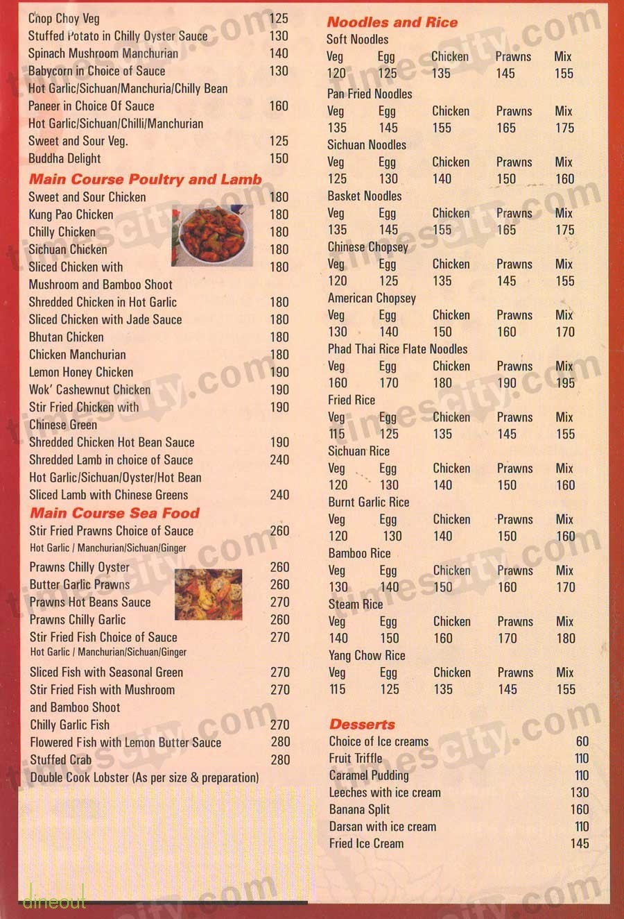 Menu of bowl o 39 china sr nagar hyderabad dineout for 13th floor bangalore candle light dinner