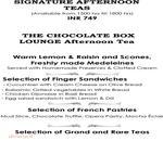 The Chocolate Box - Radisson Blu Menu