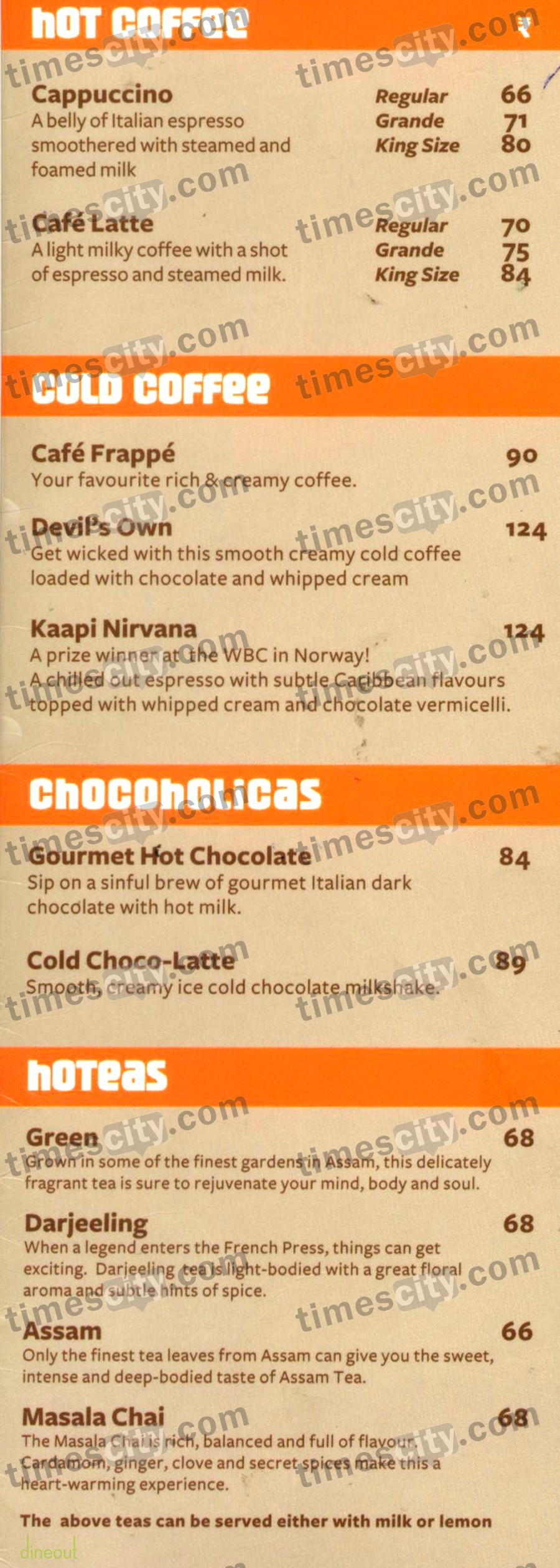 Cafe Coffee Day Menu With Price In Chennai