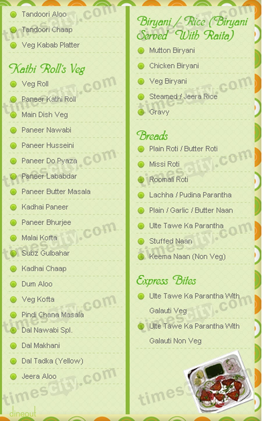 Menu of nawab 39 s the taste of lucknow kirti nagar delhi for Awadhi cuisine menu
