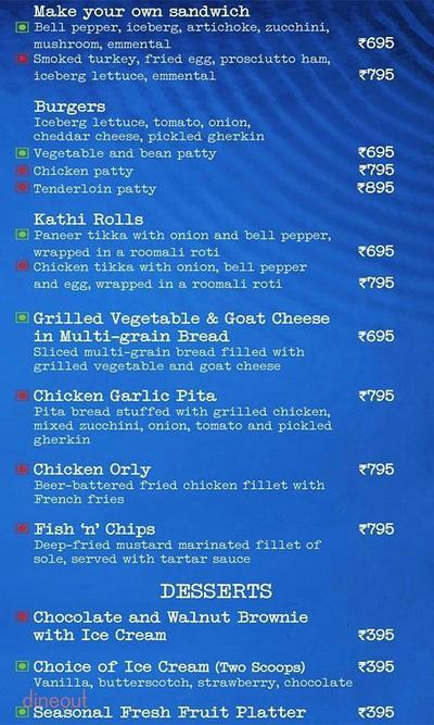 Aqua Bar - The Grand New Delhi Menu 1