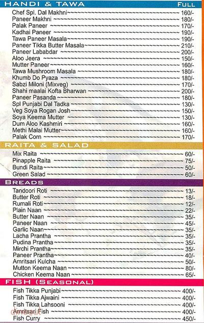 Flavours Of Punjab Menu 2