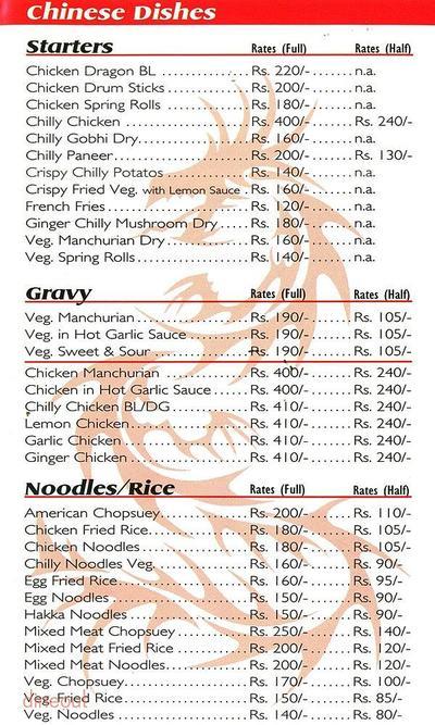 Hotel Rajvanshi Restaurant Menu 2