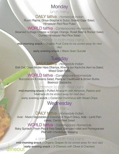 Tattva Gourmet Organic Kitchen Menu
