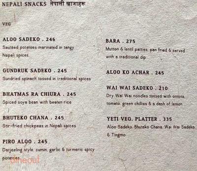 Yeti, The Himalayan Kitchen Menu 1