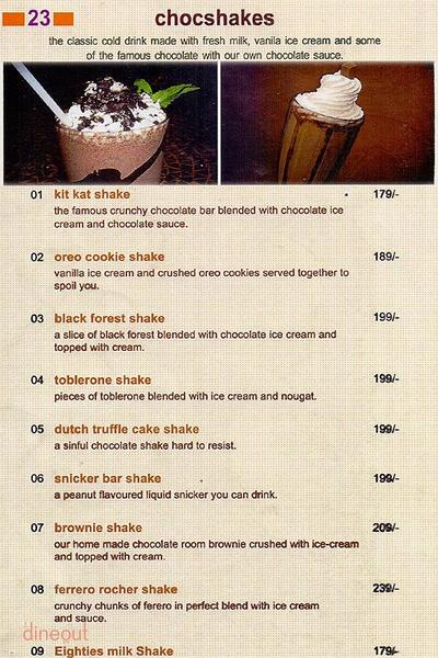 The Chocolate Room Menu 2