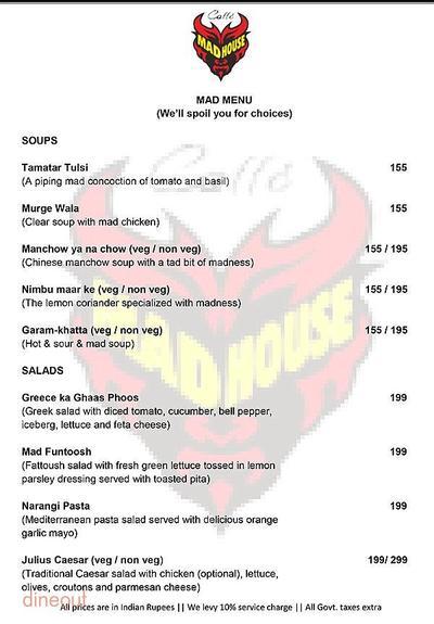 Caffe Mad House Menu