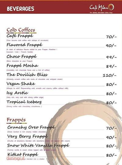 Cafe Milano Menu 1