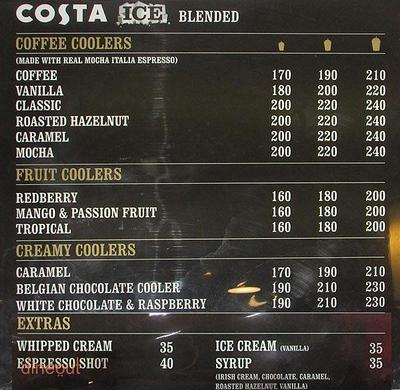 Costa Coffee Menu 2