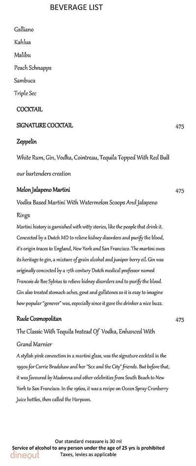 Zeppelin - Radisson Blu Hotel Dwarka Menu 3