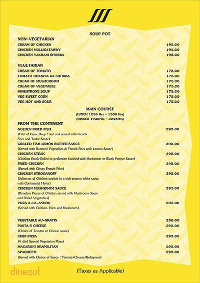 Piccadilly - Ashoka Country Resort Menu 1