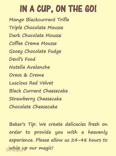 The Chocolate Heaven Menu