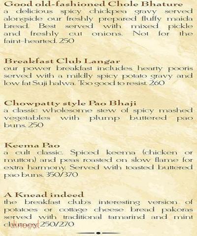 The Breakfast Club Menu 1