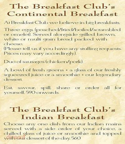 The Breakfast Club Menu 5