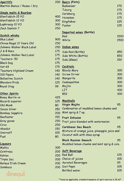 Outback Bar and Grill Menu 1