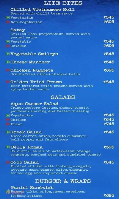 Aqua Bar - The Grand New Delhi Menu