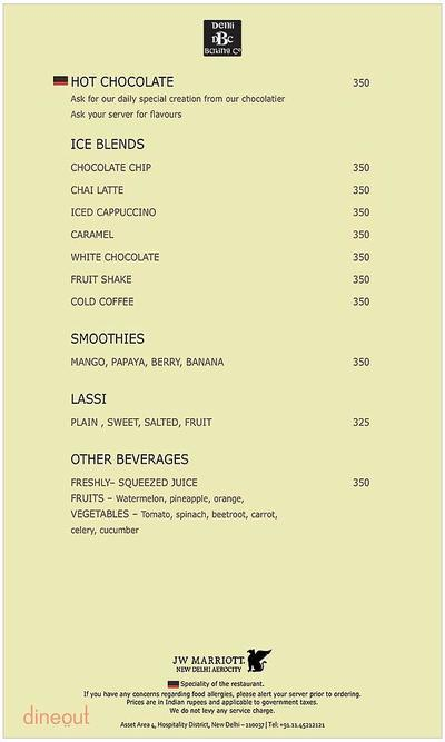 Delhi Baking Company - JW Marriott Menu 2