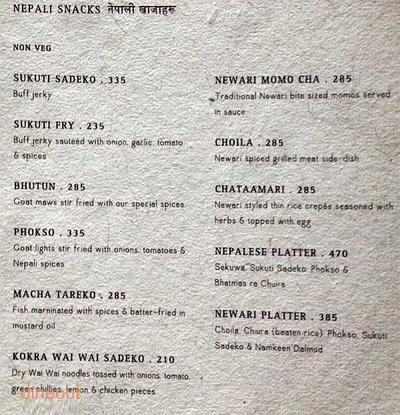 Yeti, The Himalayan Kitchen Menu 2