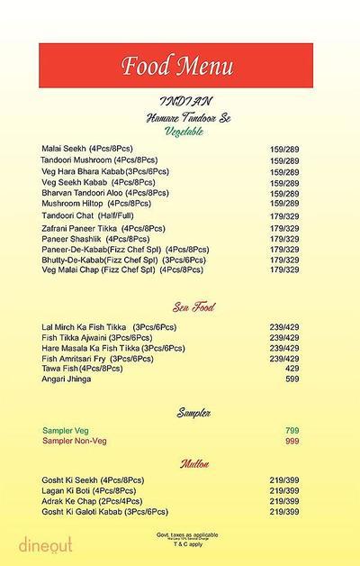 The Fizz Restaurant Bar & Lounge Menu
