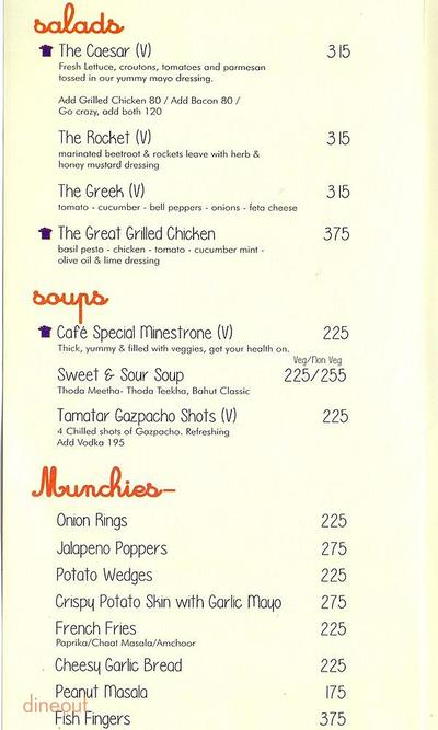 Market Cafe Menu
