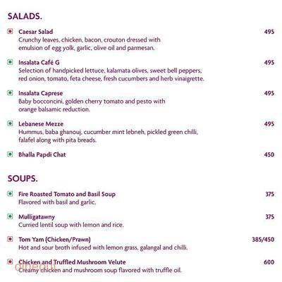 Cafe G - Crowne Plaza Menu