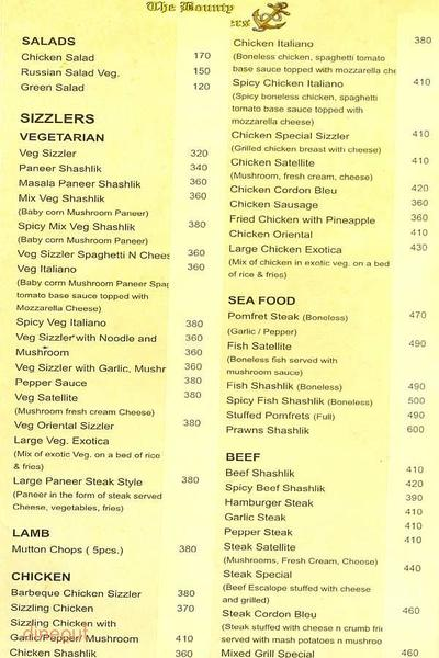 The Bounty Sizzlers Menu 1