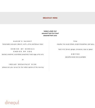 Indian Accent - The Manor Menu