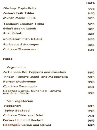 Agni - The Park Menu 1