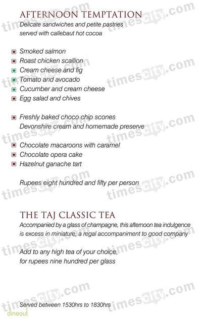 Emperor Lounge - The Taj Mahal Hotel Menu 9