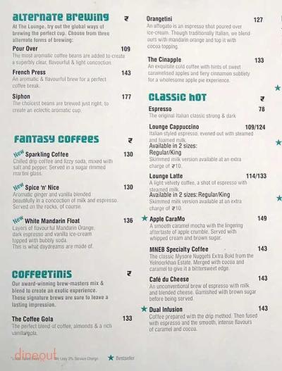 Cafe Coffee Day The Lounge Menu