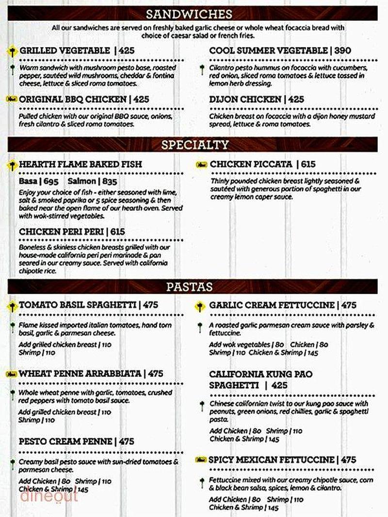 California Pizza Kitchen Drink Menu menu of california pizza kitchen, lower parel, mumbai | dineout