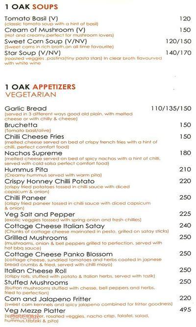 1 Oak Cafe & Bar Menu