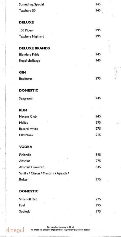 Lounge Bar - Park Inn Menu 1