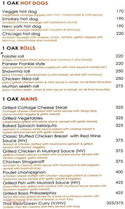1 Oak Cafe & Bar Menu 4
