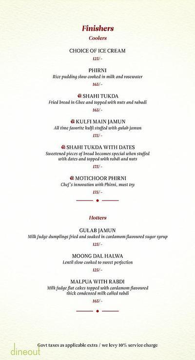 Zaheer Khan's Dine Fine Menu 12