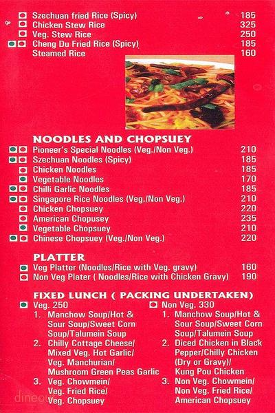 Pioneer Flavour's Of China Menu 1