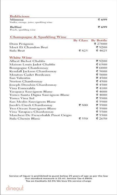 Scarlet Bar - Radisson Blu Hotel, Greater Noida Menu 3