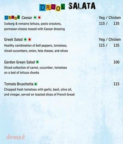 Drool Kitchen Menu 1