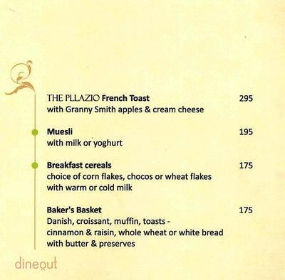 Melange - The Pllazio Hotel Menu 1