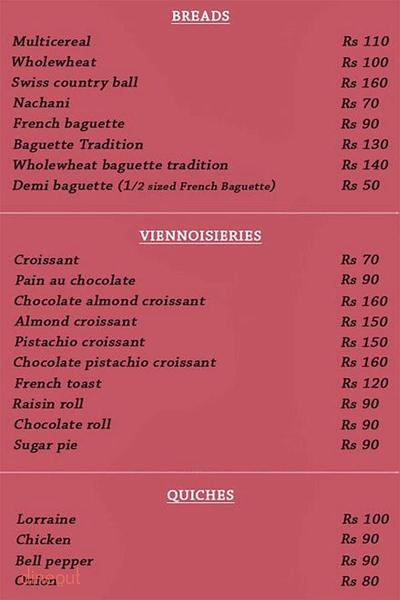La Bouchee d' Or Menu